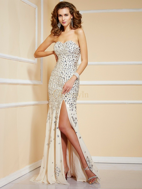 Champagne Chiffon Sweetheart Sheath/Column Sweep/Brush Train Dresses