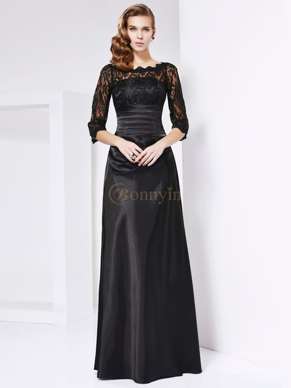 Black Elastic Woven Satin Off the Shoulder Sheath/Column Floor-Length Dresses