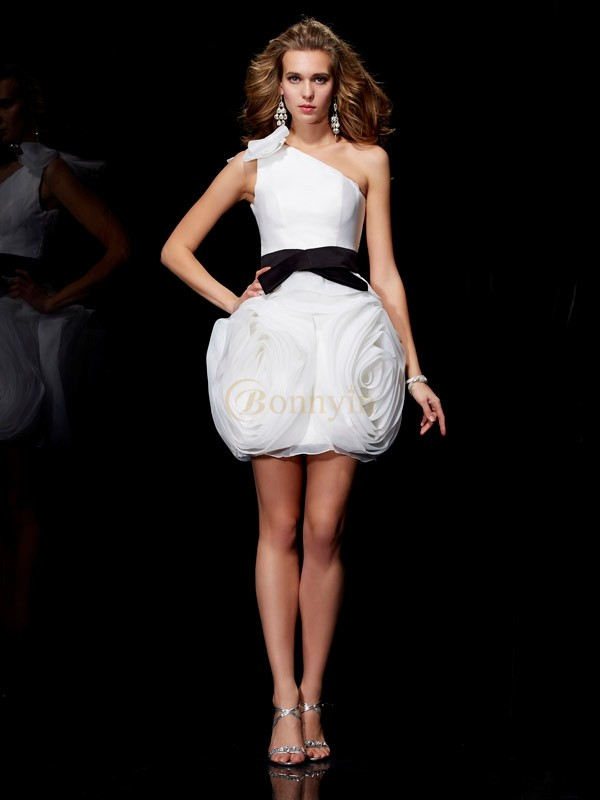 Ivory Tulle One-Shoulder Sheath/Column Short/Mini Cocktail Dresses