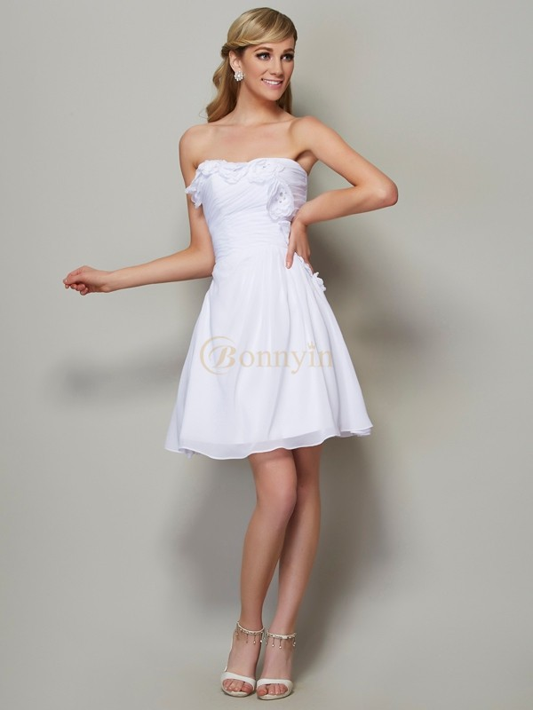 White Chiffon Strapless A-Line/Princess Short/Mini Bridesmaid Dresses