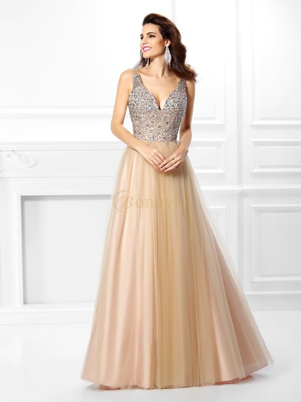 Champagne Satin V-neck Ball Gown Floor-Length Dresses