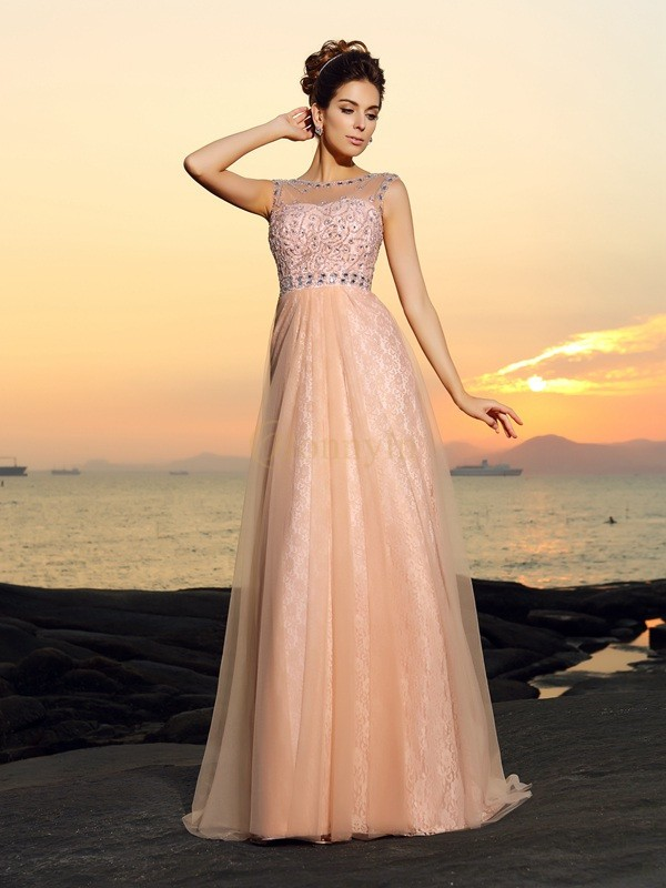 Pink Chiffon Bateau A-Line/Princess Floor-Length Dresses