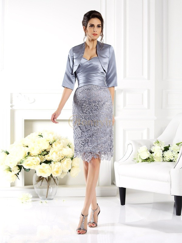 Silver Satin Sweetheart Sheath/Column Knee-Length Mother of the Bride Dresses