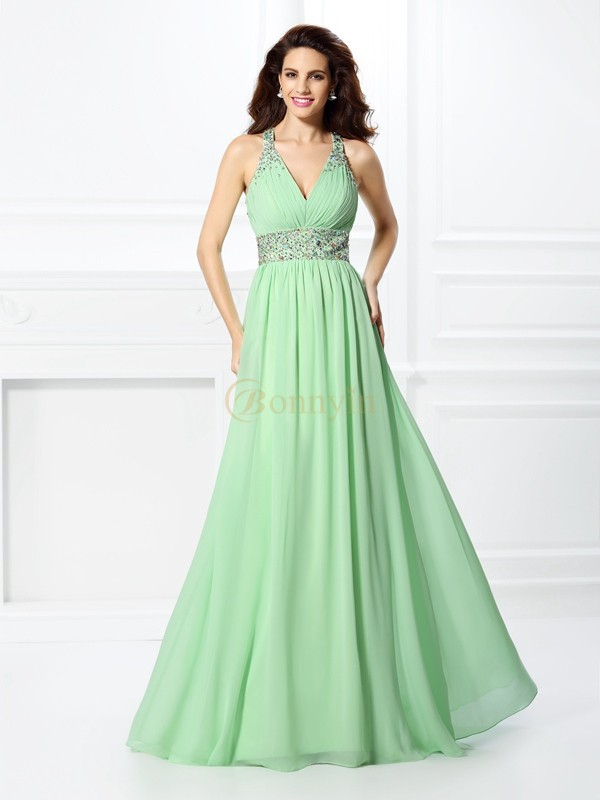 Sage Chiffon V-neck A-Line/Princess Floor-Length Prom Dresses