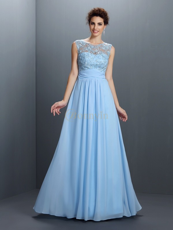 Blue Chiffon Bateau A-Line/Princess Floor-Length Dresses