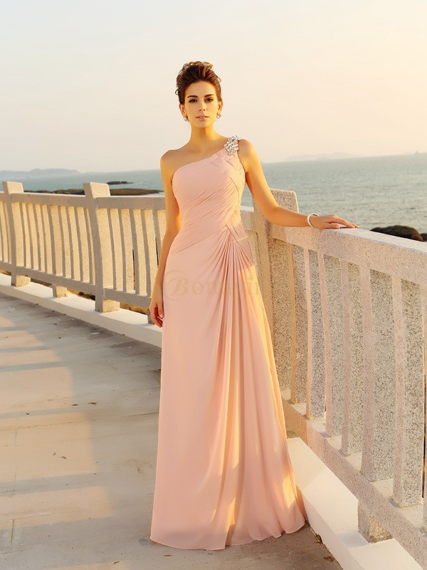 Pink Chiffon One-Shoulder A-Line/Princess Floor-Length Dresses