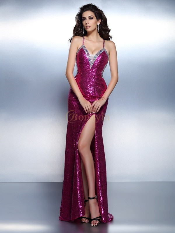 Fuchsia Chiffon Spaghetti Straps Trumpet/Mermaid Floor-Length Evening Dresses