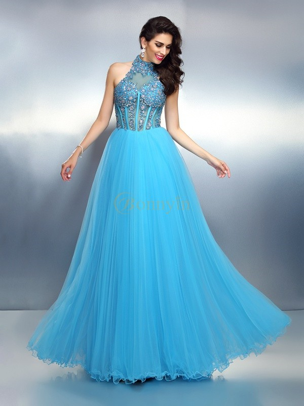 Blue Satin High Neck A-Line/Princess Floor-Length Evening Dresses