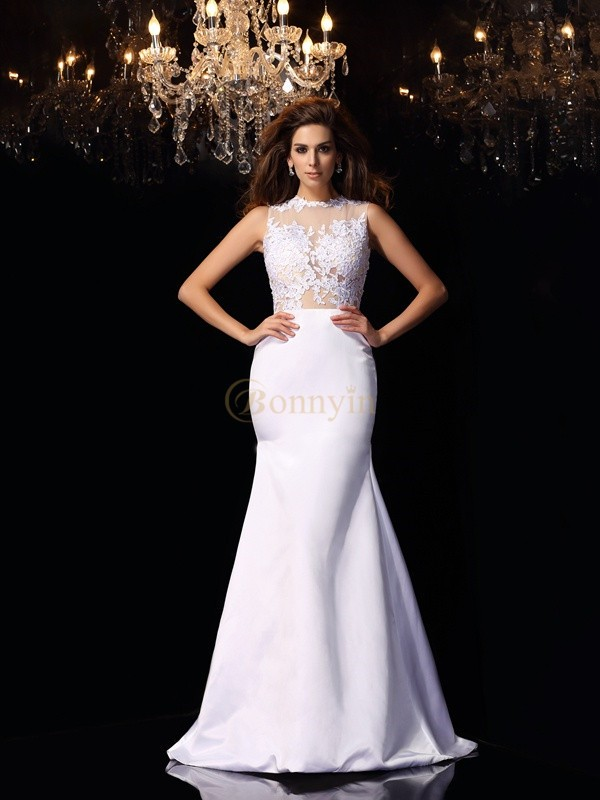 White Satin High Neck Trumpet/Mermaid Chapel Train Wedding Dresses