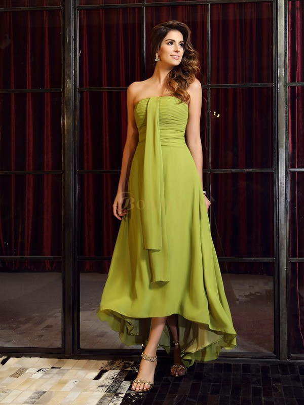 Green Chiffon Strapless A-Line/Princess Asymmetrical Bridesmaid Dresses