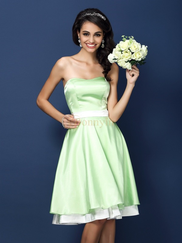 Sage Elastic Woven Satin Strapless A-Line/Princess Knee-Length Bridesmaid Dresses