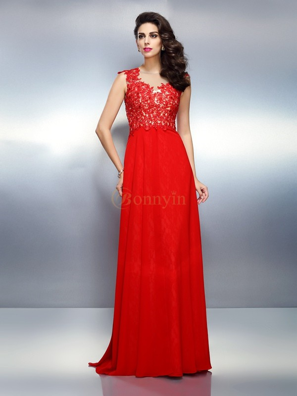 Red Net Bateau A-Line/Princess Sweep/Brush Train Dresses