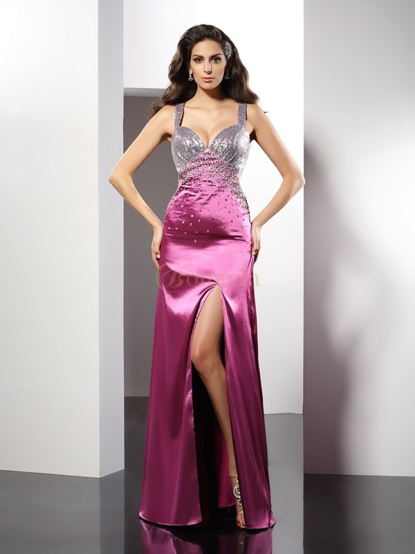 Fuchsia Elastic Woven Satin Straps A-Line/Princess Floor-Length Dresses