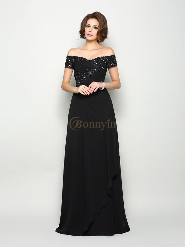Black Chiffon Off-the-Shoulder A-Line/Princess Sweep/Brush Train Mother of the Bride Dresses