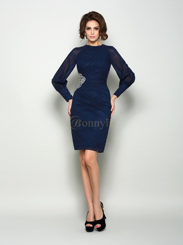 Dark Navy Chiffon High Neck Sheath/Column Knee-Length Mother of the Bride Dresses