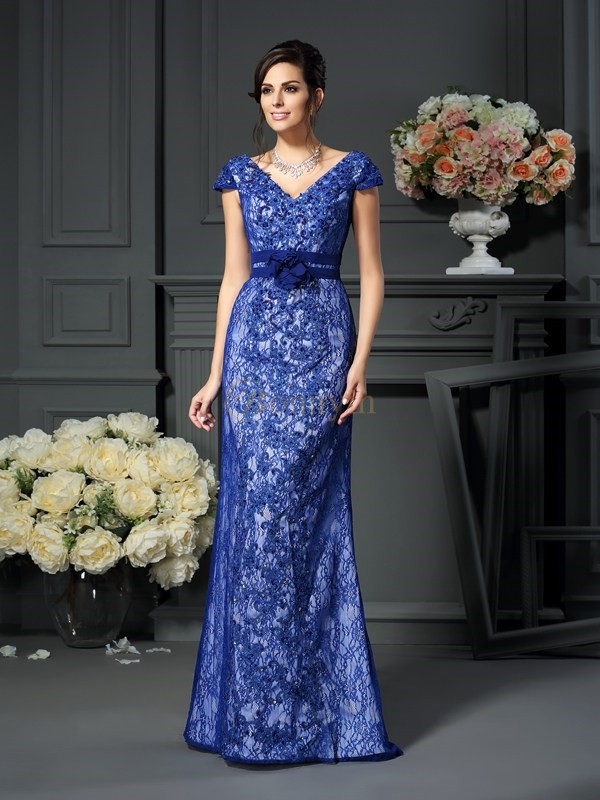 Royal Blue Satin V-neck Trumpet/Mermaid Floor-Length Mother of the Bride Dresses