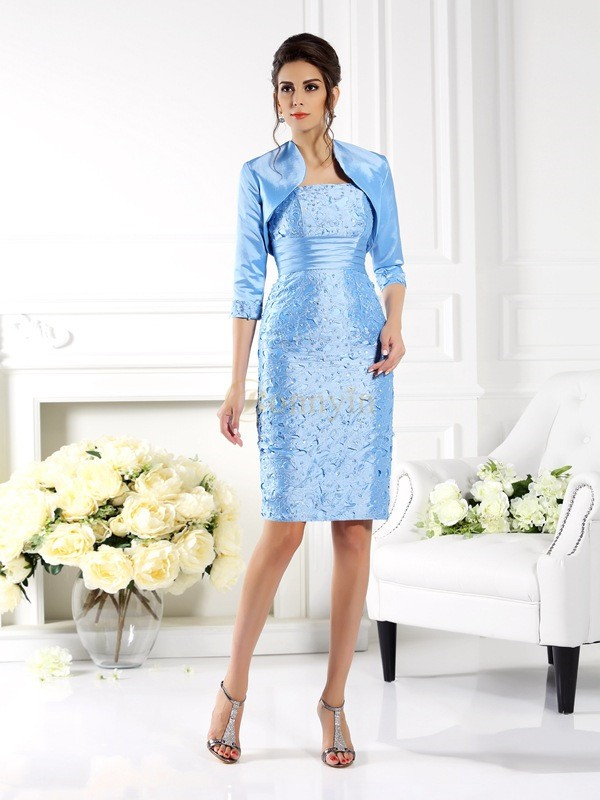 Light Sky Blue Taffeta Straps Sheath/Column Knee-Length Mother of the Bride Dresses