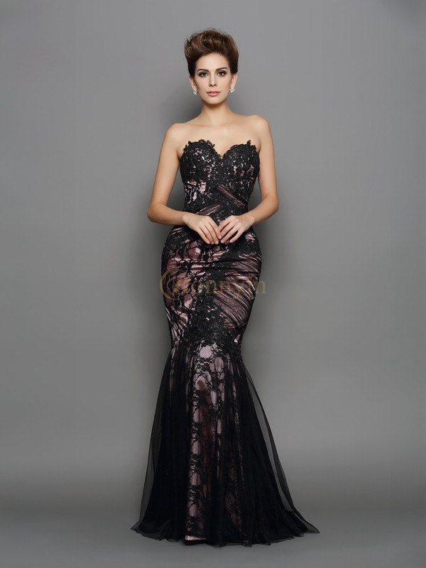 Black Elastic Woven Satin Sweetheart Trumpet/Mermaid Sweep/Brush Train Evening Dresses