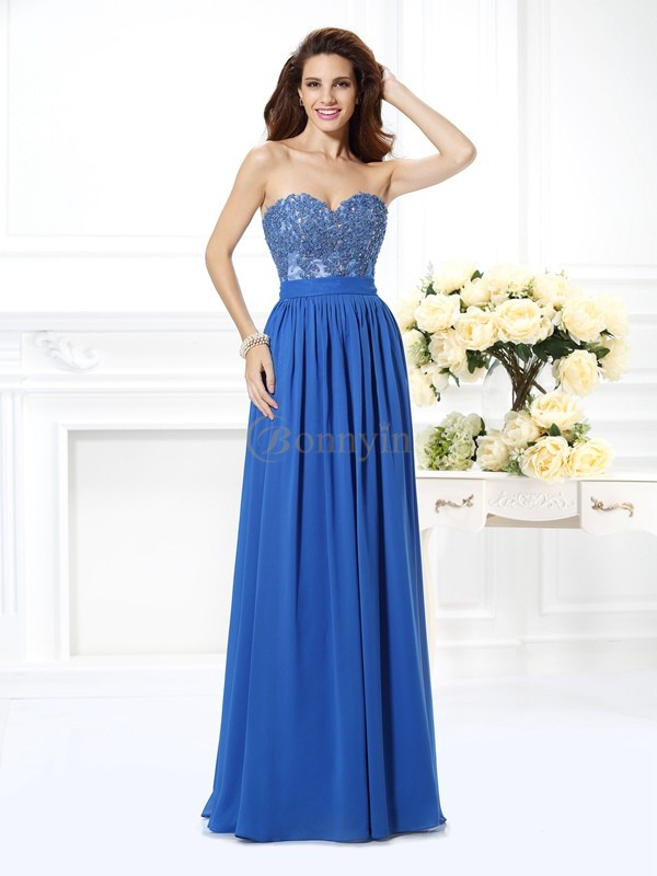 Blue Chiffon Sweetheart A-Line/Princess Floor-Length Prom Dresses