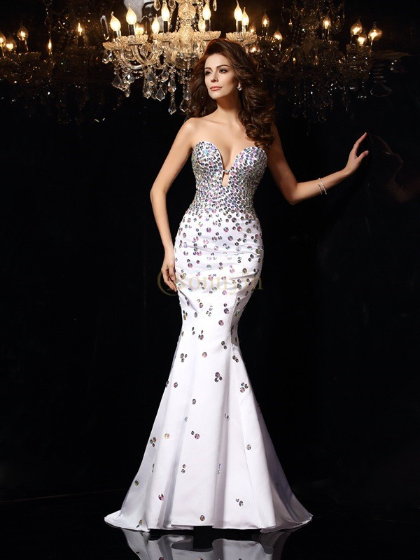 White Satin Sweetheart Trumpet/Mermaid Court Train Dresses