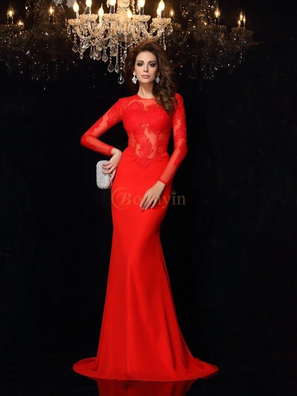 Red Chiffon Scoop Sheath/Column Court Train Dresses