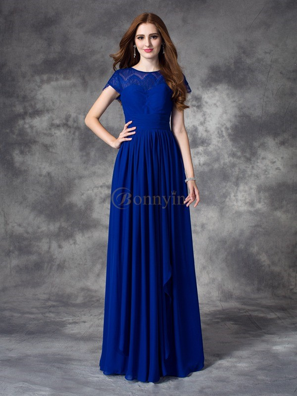 Royal Blue Chiffon Bateau A-line/Princess Floor-length Bridesmaid Dresses