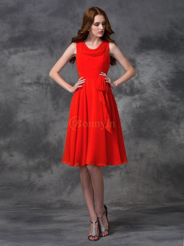 Red Chiffon Scoop A-line/Princess Knee-length Bridesmaid Dresses