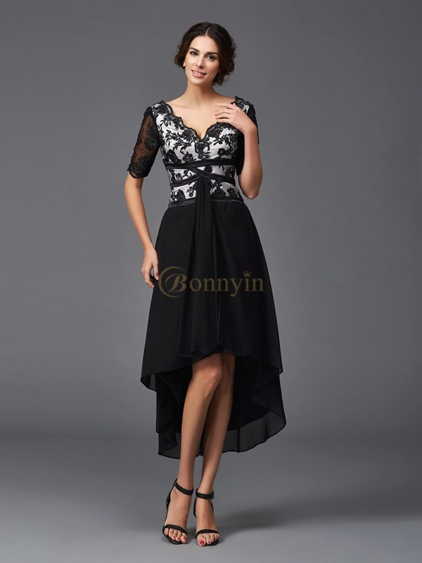 Black Chiffon V-neck A-Line/Princess Asymmetrical Cocktail Dresses