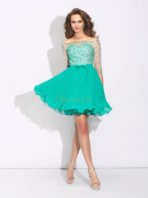 Green Chiffon Off the Shoulder A-Line/Princess Short/Mini Cocktail Dresses