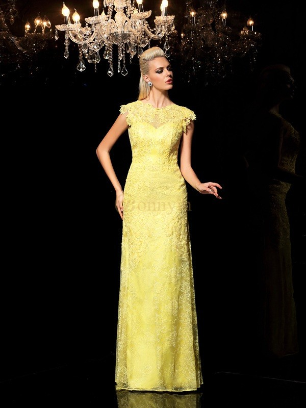 Yellow Chiffon Sheer Neck Sheath/Column Floor-Length Evening Dresses