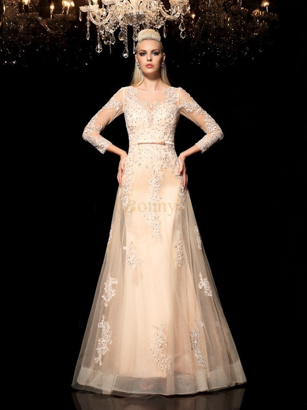 Champagne Satin Sheer Neck A-Line/Princess Floor-Length Evening Dresses