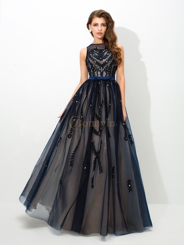 Dark Navy Tulle Sheer Neck A-Line/Princess Floor-Length Evening Dresses