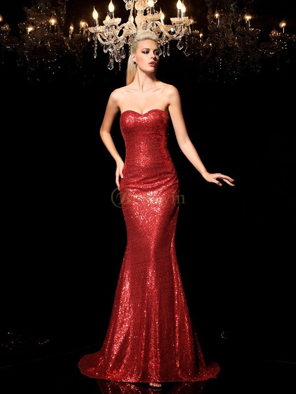 Red Sequins Sweetheart Sheath/Column Sweep/Brush Train Evening Dresses