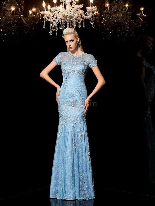 Blue Lace Sheer Neck Sheath/Column Floor-Length Evening Dresses
