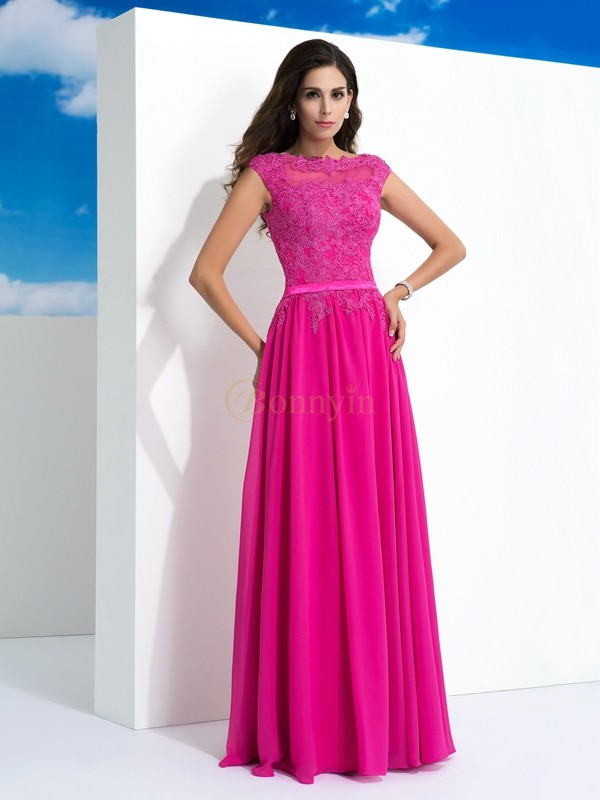 Fuchsia Chiffon Sheer Neck A-Line/Princess Floor-Length Evening Dresses