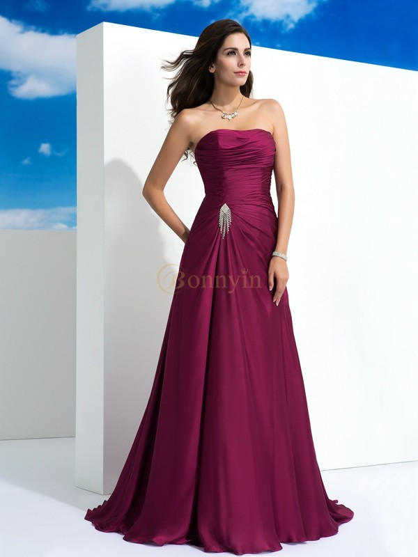 Burgundy Satin Chiffon Strapless A-Line/Princess Sweep/Brush Train Evening Dresses