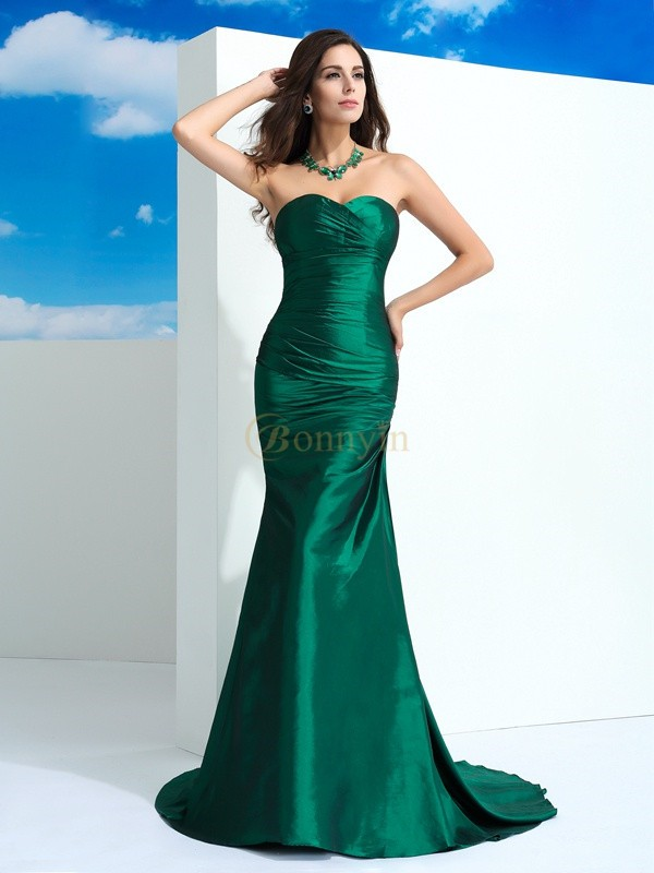 Green Taffeta Sweetheart Sheath/Column Sweep/Brush Train Evening Dresses