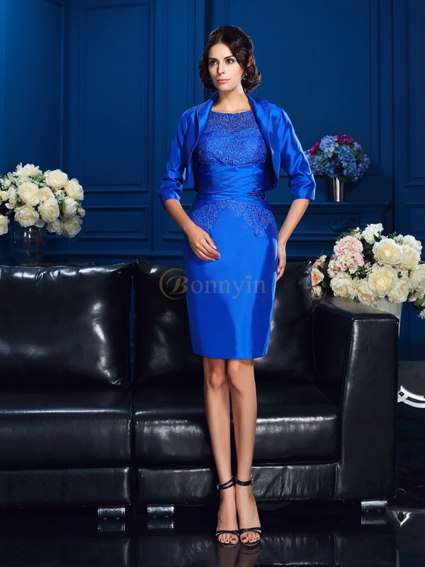 Royal Blue Taffeta Scoop Sheath/Column Short/Mini Mother of the Bride Dresses