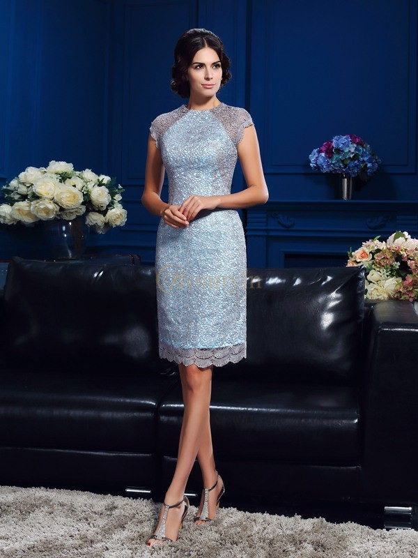 Satin Scoop Sheath/Column Short/Mini Mother of the Bride Dresses