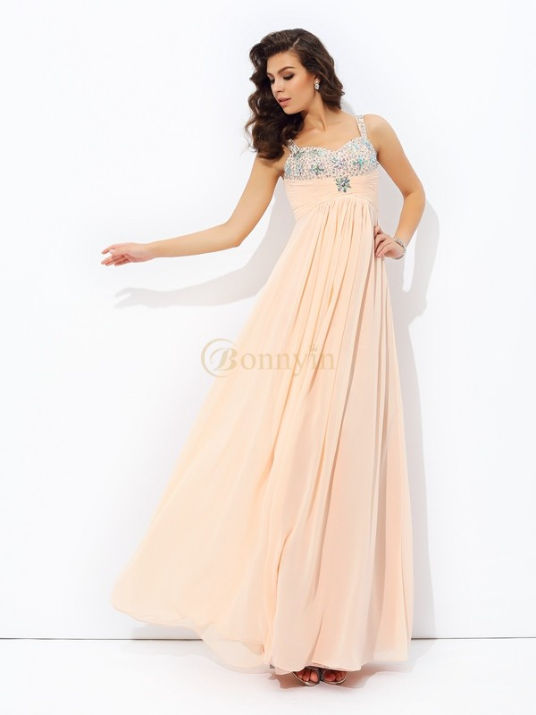 Pearl Pink Chiffon Spaghetti Strap A-line/Princess Floor-Length Prom Dresses