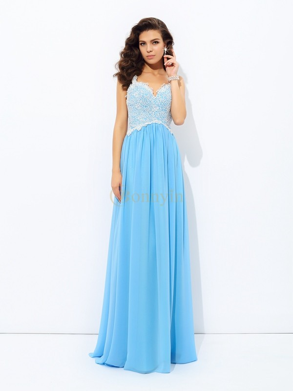 Light Sky Blue Chiffon V-neck A-Line/Princess Floor-length Prom Dresses