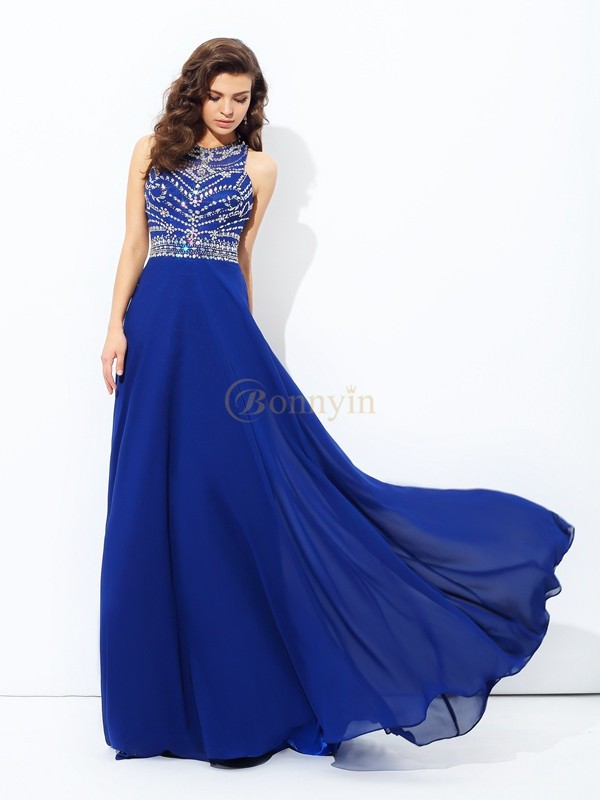 Royal Blue Chiffon Scoop A-line/Princess Floor-length Prom Dresses