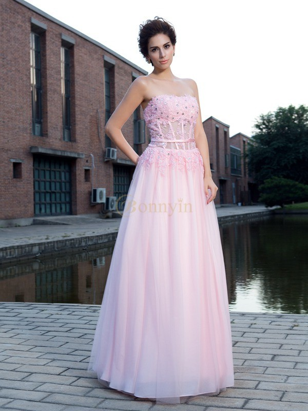 Pink Net Straps A-Line/Princess Floor-Length Prom Dresses