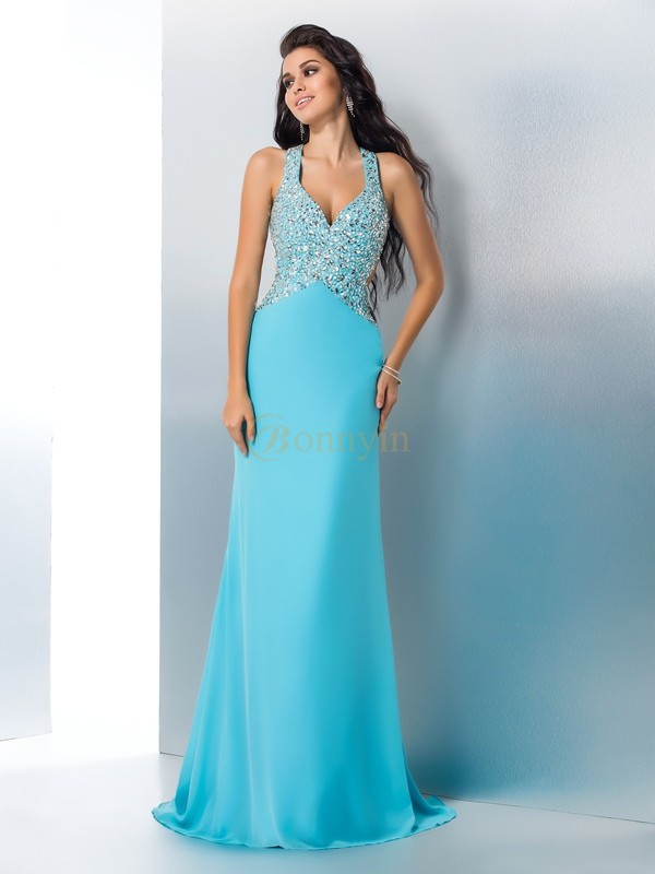 Blue Chiffon Straps A-Line/Princess Sweep/Brush Train Prom Dresses