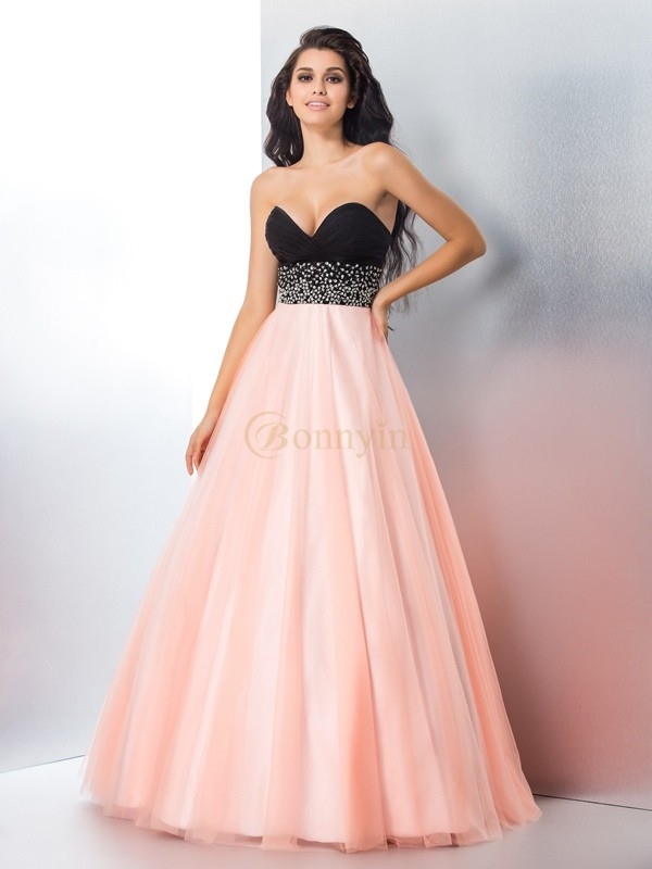 Pink Satin Sweetheart Ball Gown Floor-Length Prom Dresses