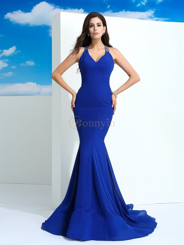 Royal Blue Chiffon Straps Sheath/Column Court Train Prom Dresses