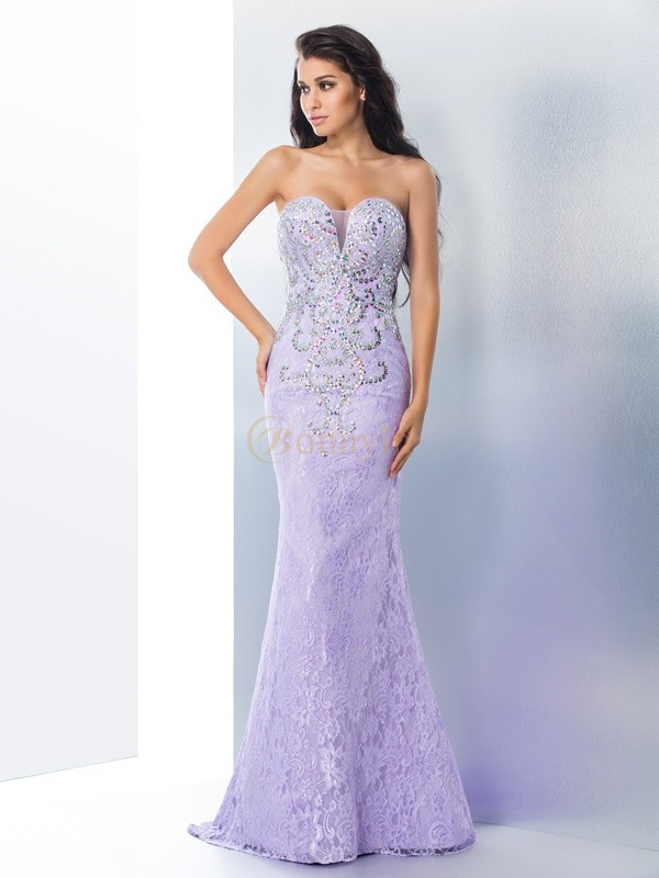 Lavender Lace Sweetheart Trumpet/Mermaid Sweep/Brush Train Prom Dresses