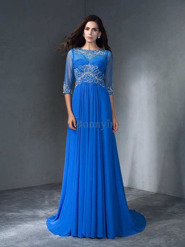 Blue Chiffon Scoop A-Line/Princess Sweep/Brush Train Prom Dresses