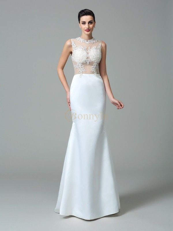 White Satin Jewel Sheath/Column Sweep/Brush Train Prom Dresses