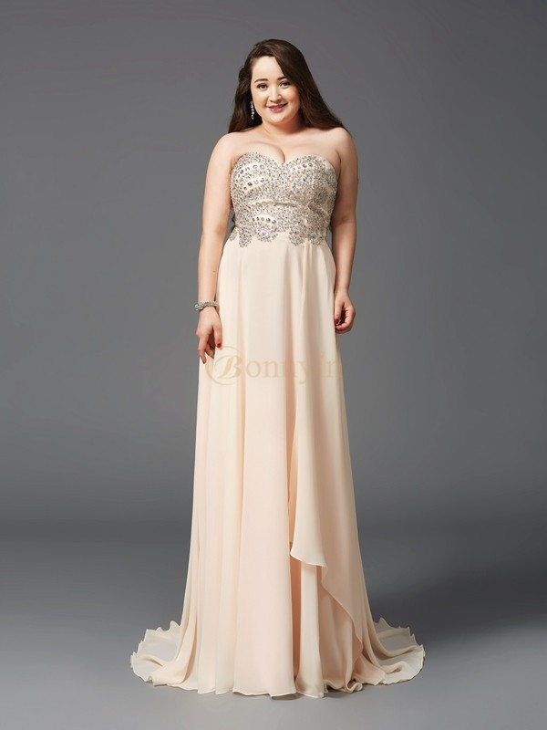 Champagne Chiffon Sweetheart A-Line/Princess Sweep/Brush Train Prom Dresses